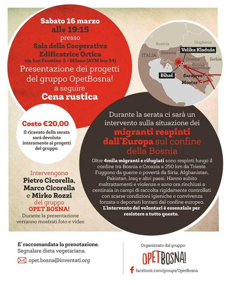 Cena di sostegno e presentazione del progetto Opet Bosna