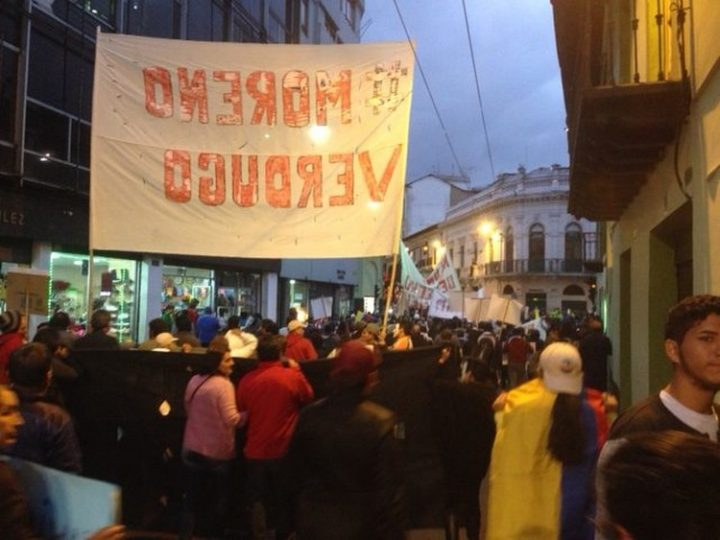 Διαδήλωση κατά της κυβέρνησης Μορένο στο Κίτο του Εκουαδόρ
