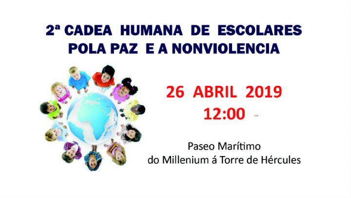 La Corogne : Deuxième Chaîne humaine d'écoliers pour la Paix et la Nonviolence