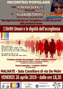 I Diritti Umani e la dignità dell'accoglienza, incontro a Malnate