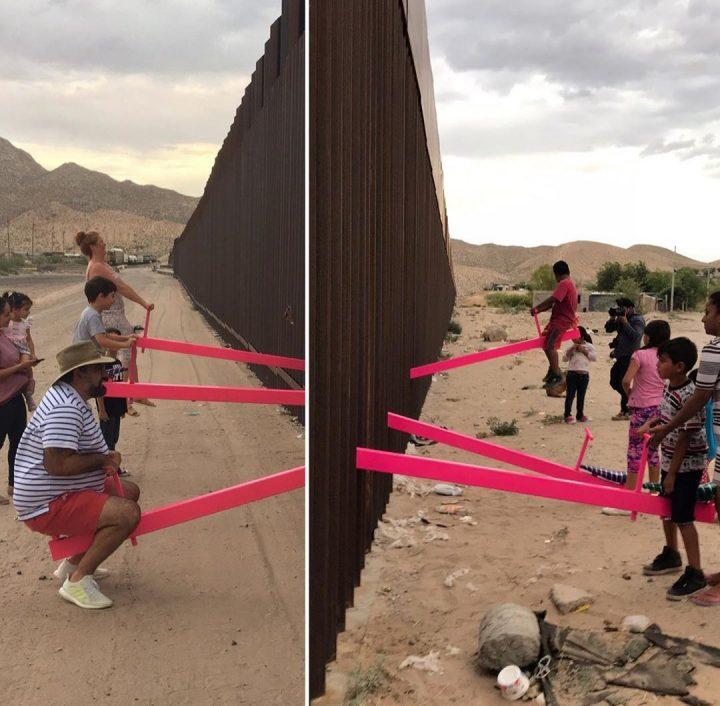Migranti, un'altalena 'abbatte' il muro tra Messico e Usa
