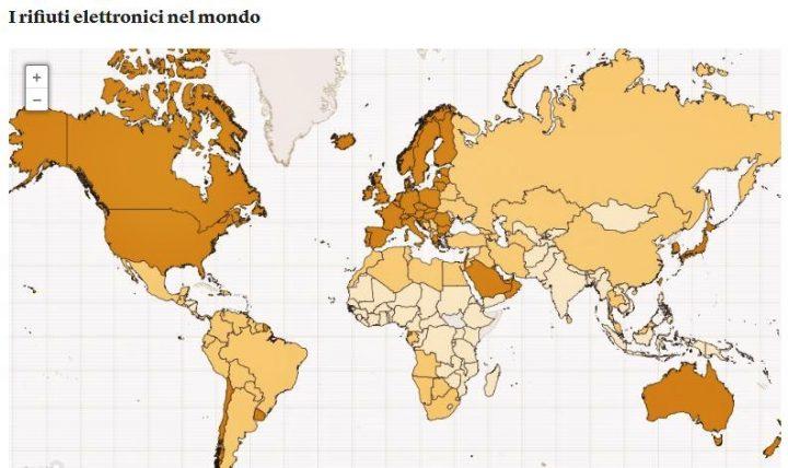 Mappa Rifiuti Elettronici nel Mondo