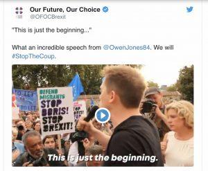 """Protestas masivas en el Reino Unido contra el """"golpe"""" político de Johnson"""