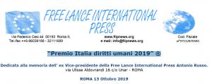 "Roma: Free Lance International Press, ""Premio Italia diritti umani 2019"""