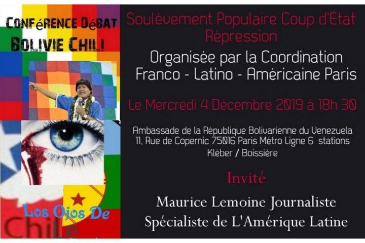 Situation en Bolivie et au Chili. Conférence-débat avec Maurice Lemoine à Paris