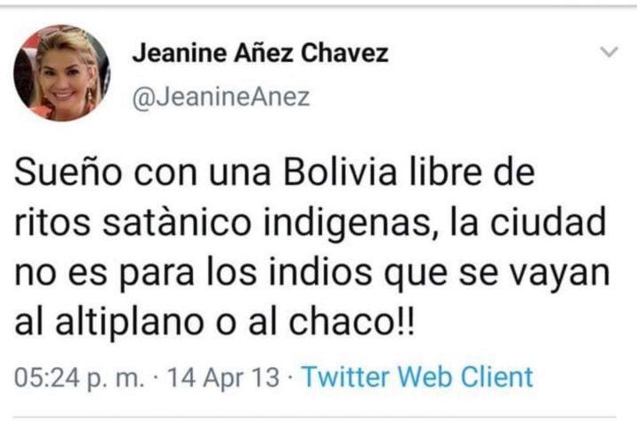 Jeanine Añez profilo Twitter