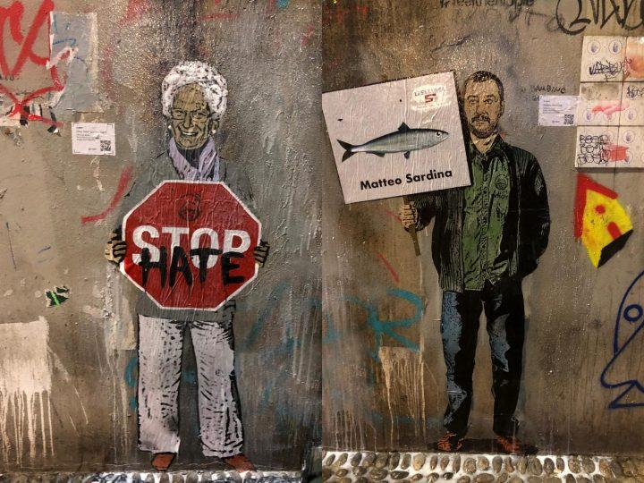 """Street art, Tvboy a Milano: """"In questo mare di proteste, che pesce prendere?"""""""