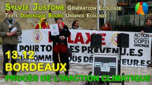 Procès Inaction Climatique à Bordeaux : intervention de Génération Ecologie/Urgence Ecologie