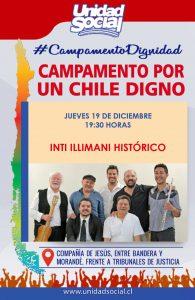 Santiago del Cile, concerto degli Inti Illimani histórico nel Campamento Dignidad