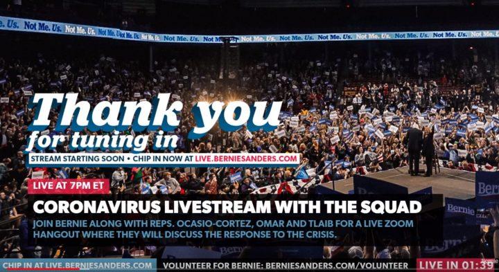 WATCH: Bernie Sanders Holds Roundtable on Coronavirus Response With Alexandria Ocasio-Cortez, Ilhan Omar, Rashida Tlaib
