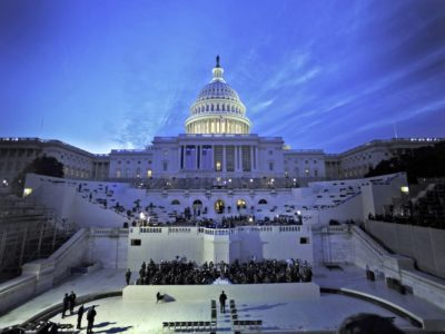 The Capitol Dome provides the background as U.S. servicemembers prepare for the 56th presidential inauguration rehearsal Jan. 11 in Washington, D.C. More than 5,000 men and women in uniform are providing military ceremonial support to the inauguration. (U.S. Air Force)