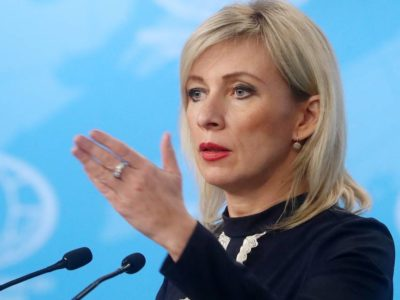 MOSCOW, RUSSIA - DECEMBER 18, 2019: Russian Foreign Ministry Spokeswoman Maria Zakharova speaks during a press briefing on Russia's current foreign policy.