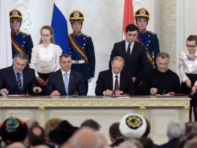 Signing of the Treaty on the adoption of the Republic of Crimea and Sevastopol to Russia. Left to right: S. Aksyonov, V. Konstantinov, V. Putin and A. Chalyi.